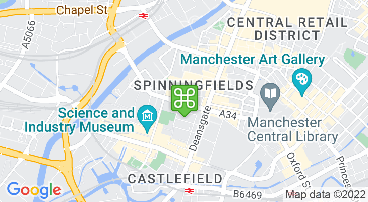 Map showing location of Opera House Manchester