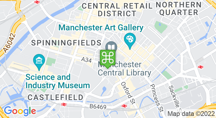 Map showing location of Manchester Visitor Information Centre