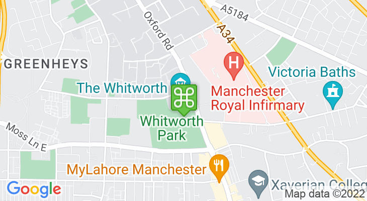 Map showing location of Whitworth Art Gallery