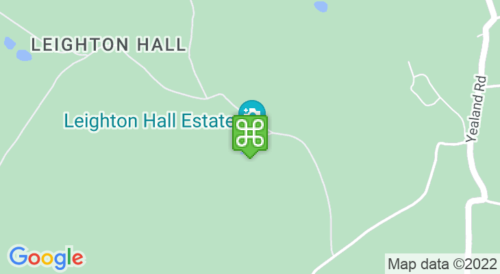 Map showing location of Leighton Hall
