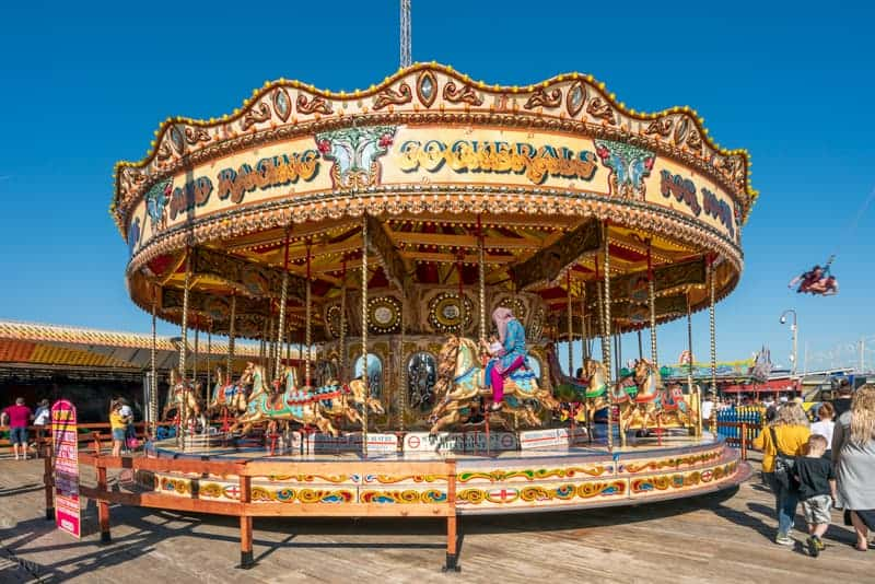Carousel fairground ride at South Pier Blackpool