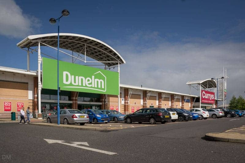 Dunelm and Currys stores at Bolton Gate Retail Park.
