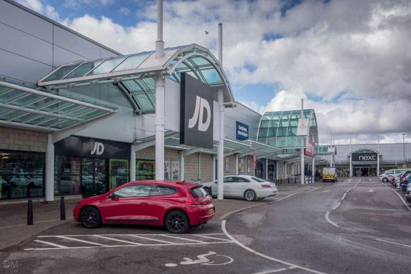 JD, Currys, and Next at Woodfields Retail Park, Bury.