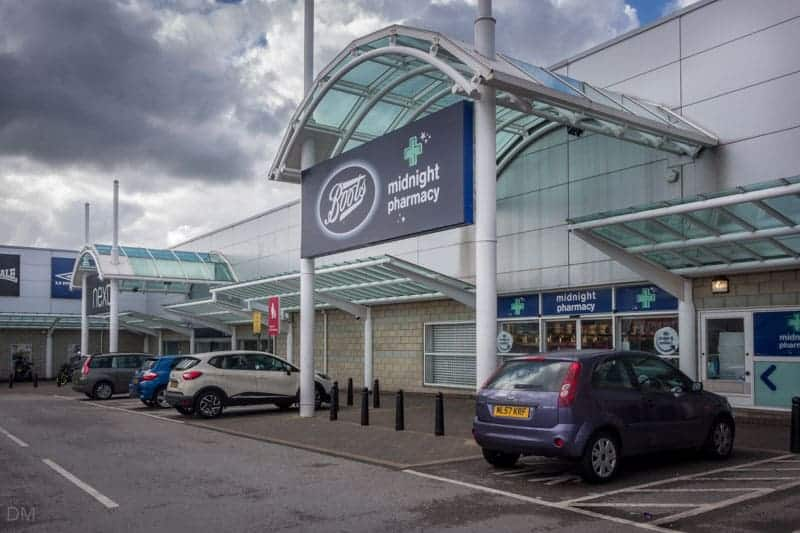Boots at Woodfields Retail Park in Bury, Greater Manchester.