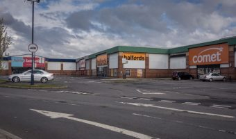 Home Bargains, Carpetright, and Halfords at Moorgate Retail Park in Bury