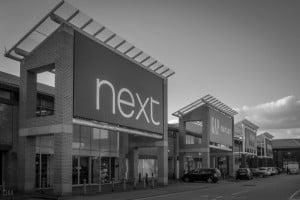 Next, Gap, Homesense, and TK Maxx stores at the Capitol Centre, Walton-le-Dale, near Preston