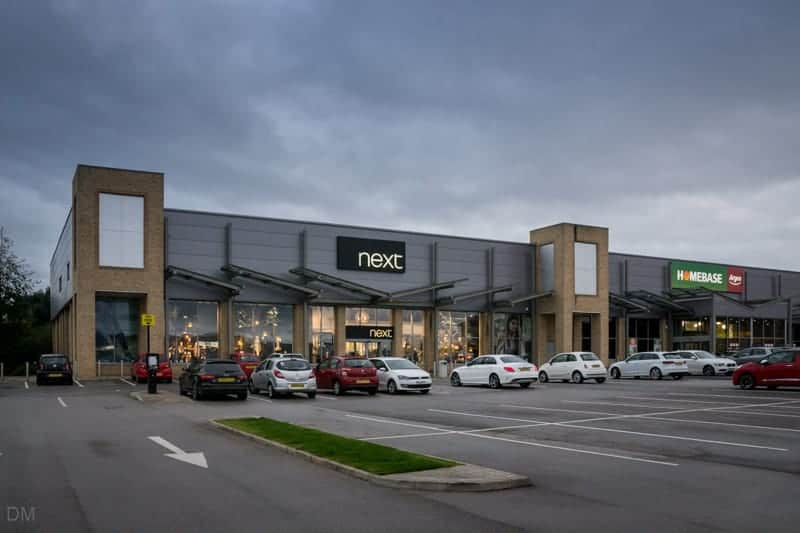 Next, Homebase, and Argos stores at Central Drive Retail Park in Morecambe