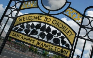 Sign in Chorley, a market town in Lancashire, England.