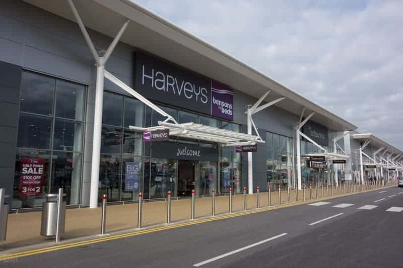 Harveys and Sofaworks at Deepdale Shopping Park in Preston, Lancashire.