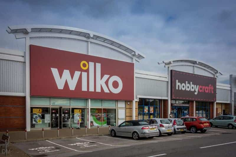 Wilko and Hobbycraft at Deepdale Shopping Park in Preston.