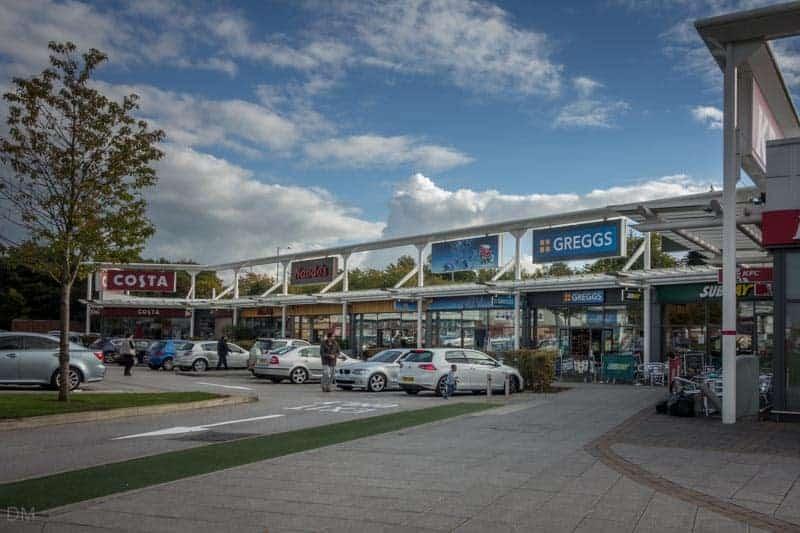 Costa, Nando's, Greggs, Subway and KFC at Deepdale Shopping Park in Preston.