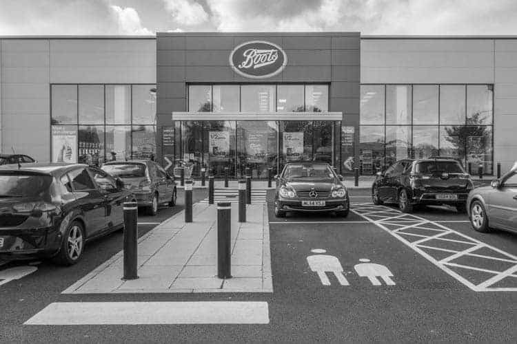 Boots pharmacy at Gemini Retail Park in Warrington, Cheshire
