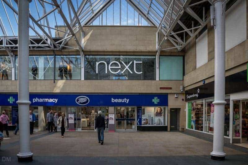 Next and Superdrug shops at St Nicholas Arcades in Lancaster