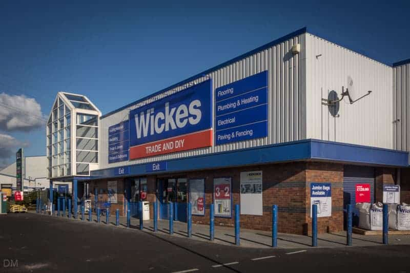 Wickes DIY store at Lancaster Retail Park near Morecambe in Lancashire