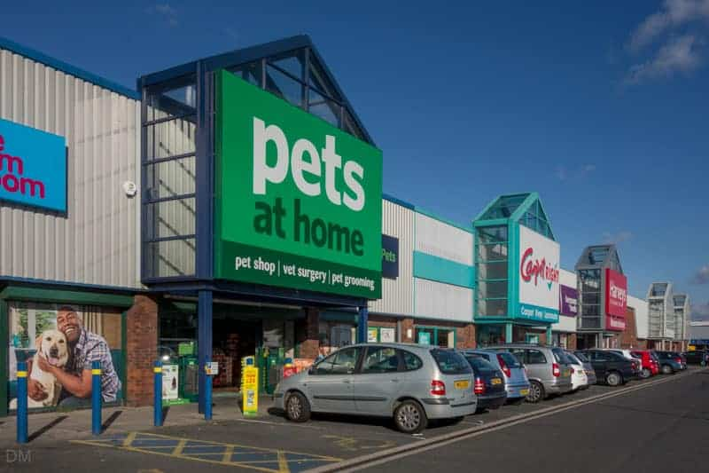Pets at Home, Carpetright, Bensons for Beds, and Harveys stores at Lancaster Retail Park