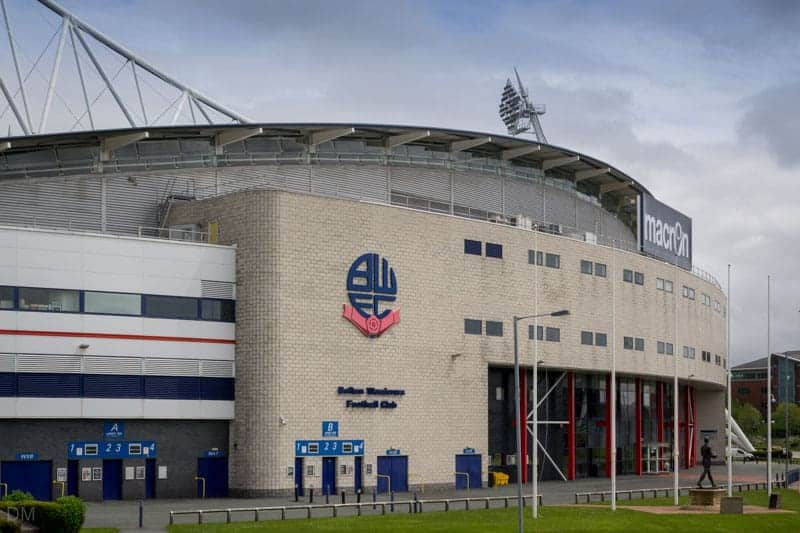 West Stand and main entrance to the Macron Stadium, Bolton