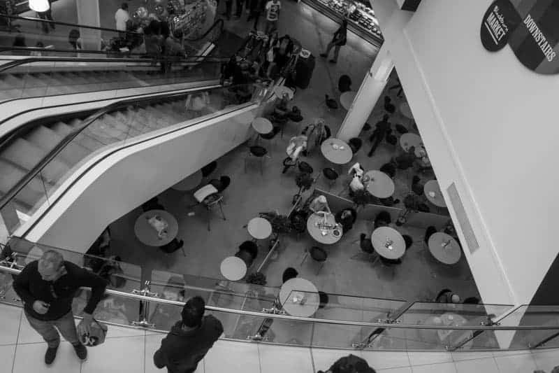 Escalator to Blackburn Market and Food Court, The Mall