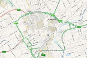 Map of Blackburn, Lancashire