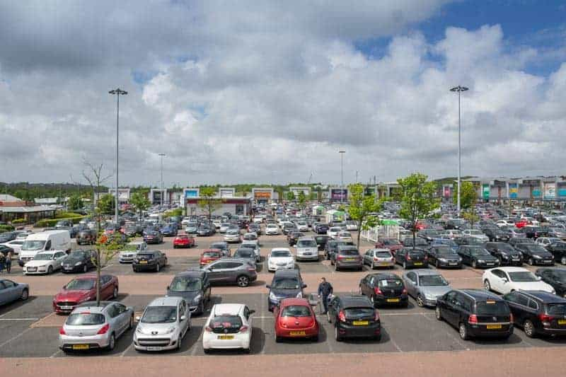 Western side of the Middlebrook in Bolton. Shops in the distance include Next Home, Furniture Village, Halfords, and Currys PC World.