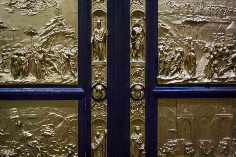 Cast of Florence Baptistery doors at the Harris Museum in Preston, Lancashire.