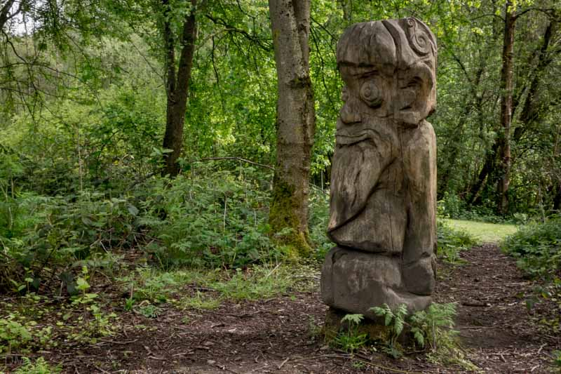 Oak troll carving at Burrs Country Park in Bury.