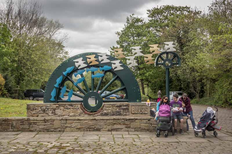 Waterwheel by David Kemp. Sculpture at Burrs Country Park in Bury.