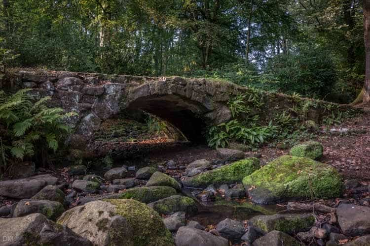Stone bridge over Ravenden Brook in Smithills Country Park, Bolton