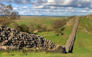 Preserved section of Hadrians Wall