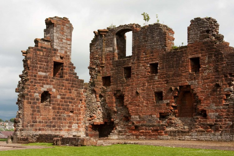 Ruined walls of Penrith Castle, a 14th castle in Penrith Castle Park, Cumbria