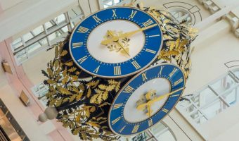 Clock at The Galleries Shopping Centre in Wigan.