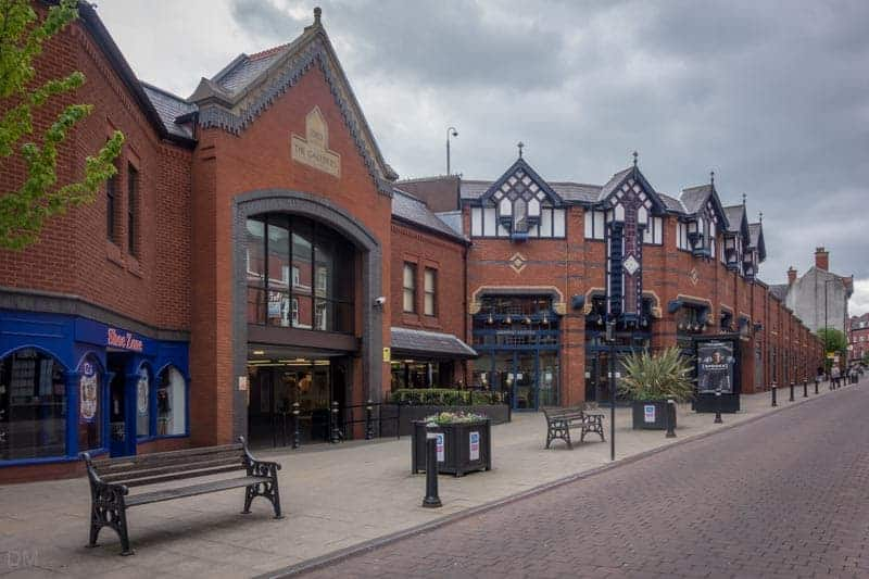 Entrance to the Galleries Shopping Centre on Market Street in Wigan.