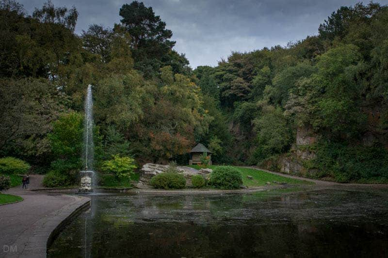 Lake and fountain at Williamson Park in Lancaster.