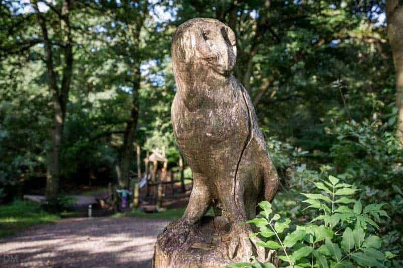 Owl sculpture at Big Cover Wood, Witton Country Park, Blackburn