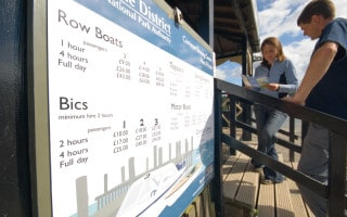 Price list for boat hire at the Coniston Boating Centre