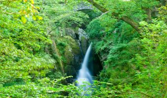 View of the Aira Force waterfall near Ullswater