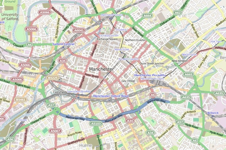 Street Map Of Manchester