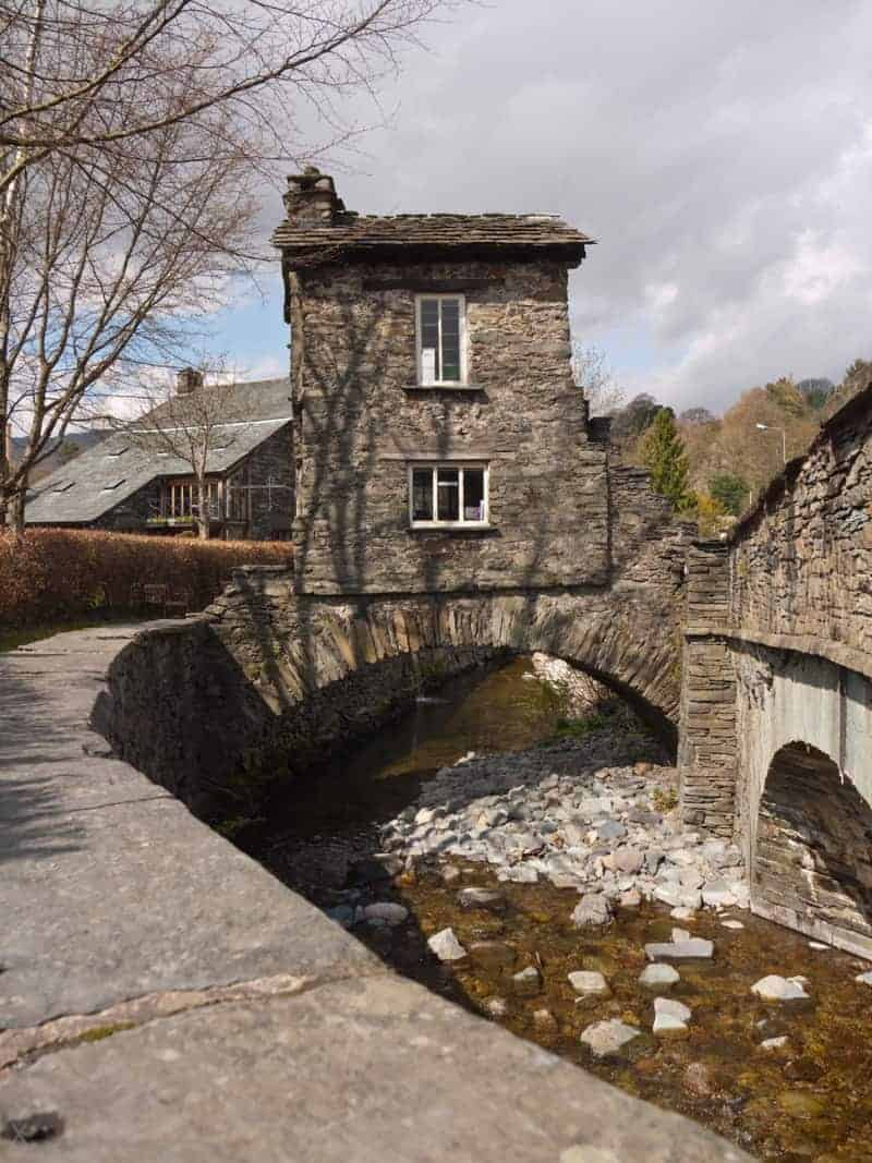 View of Bridge House in Ambleside in the English Lake District