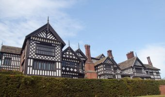 View of the exterior of Bramall Hall in Stockport