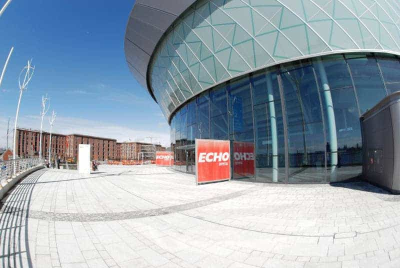 View of the exterior of the M&S Arena Liverpool concert venue