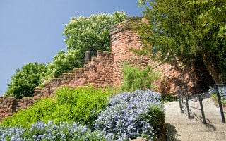 View of the Chester City Walls in summertime