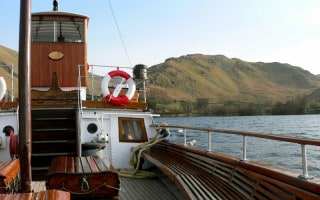 View of the deck of one of the Ullswater Steamer ferry boats on Ullswater