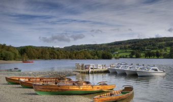 Sailing and pleasure boats on Coniston Water in the Lake District, England