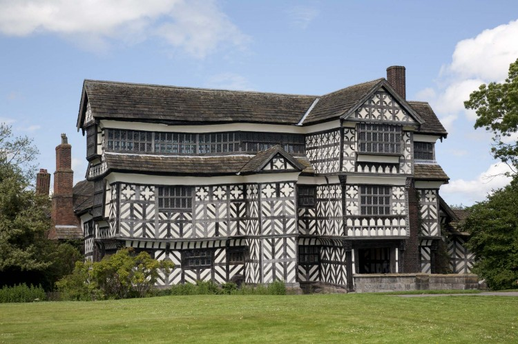 Little Moreton Hall, a timber-framed house near Congleton, Cheshire