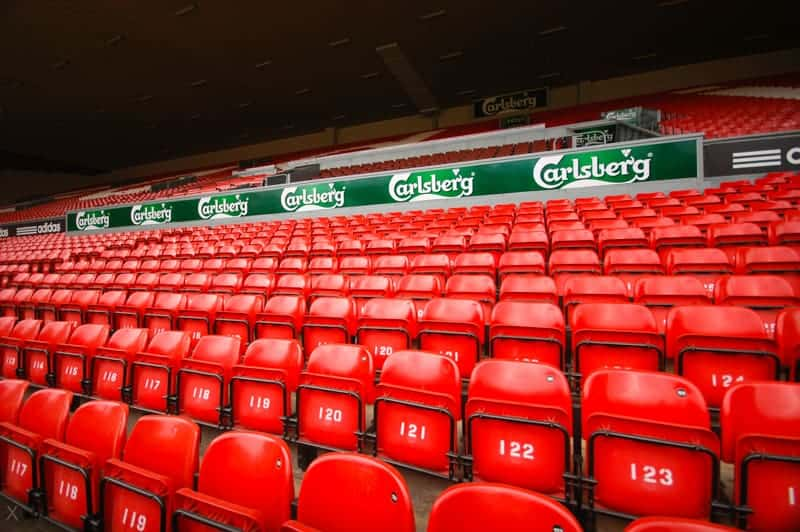 Seats at Anfield, the stadium of Liverpool FC
