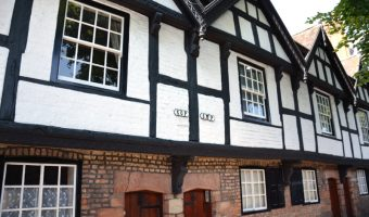 View of the Nine Houses in Chester - black and white timber framed buildings