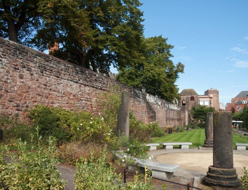 View of the Roman Garden in Chester city centre
