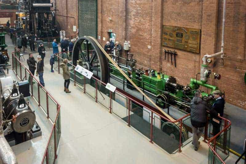 Tandem compound engine from Wasp Mill in Rochdale on display at Bolton Steam Museum