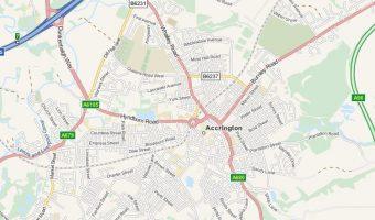 Map of Accrington, Lancashire