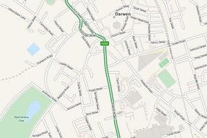 Map of Darwen, Lancashire