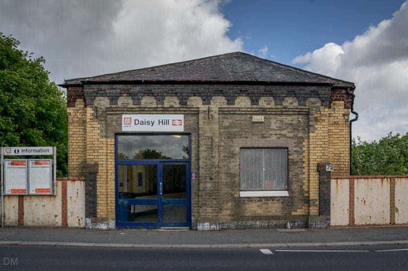 Entrance to Daisy Hill Train Station on Leigh Road in Westhoughton, Bolton